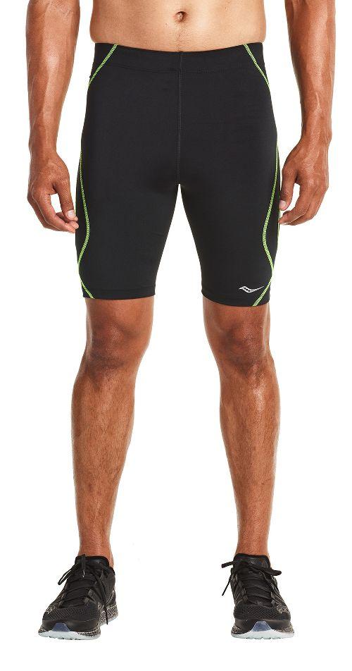 Mens Saucony Endorphin Half Tight Compression & Fitted Shorts - Black/VIZiPRO XL