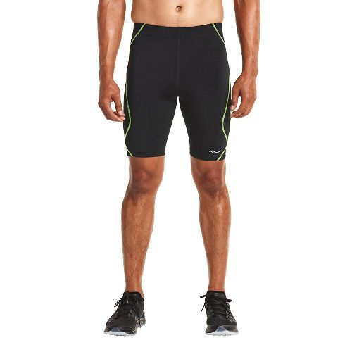 Mens Saucony Endorphin Half Tight Compression & Fitted Shorts - Black/VIZiPRO S
