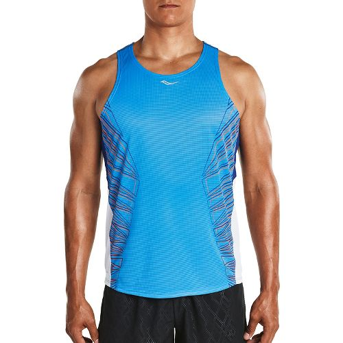 Mens Saucony Endorphin Singlet Sleeveless & Tank Tops Technical Tops - Brilliant Blue XL