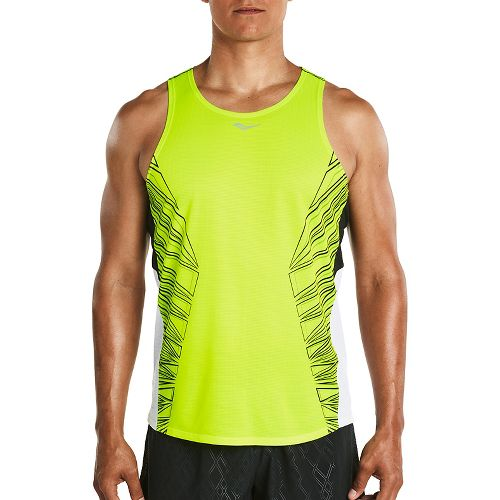 Mens Saucony Endorphin Singlet Sleeveless & Tank Tops Technical Tops - VIZiPRO Citron S