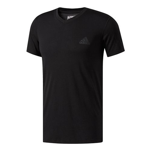 Mens Adidas Ultimate V-Neck Short-Sleeve Tee Technical Tops - Black L