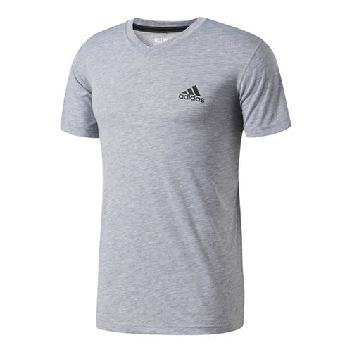 Mens Adidas Ultimate V-Neck Short-Sleeve Tee Technical Tops - Medium Grey Heather S