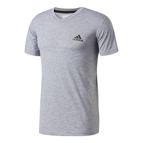Mens Adidas Ultimate V-Neck Short-Sleeve Tee Technical Tops - Black M