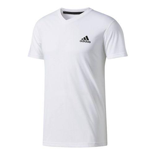 Mens Adidas Ultimate V-Neck Short-Sleeve Tee Technical Tops - White S