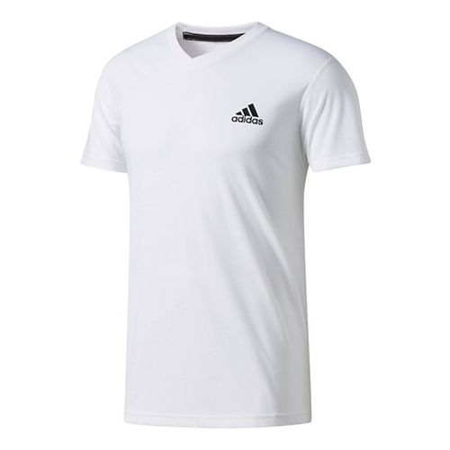 Mens Adidas Ultimate V-Neck Short-Sleeve Tee Technical Tops - White XL