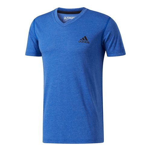 Mens Adidas Ultimate V-Neck Short-Sleeve Tee Technical Tops - Royal/Heather L