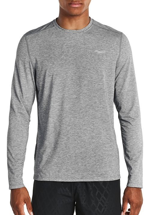Mens Saucony Freedom Long Sleeve Technical Tops - Grey Heather S
