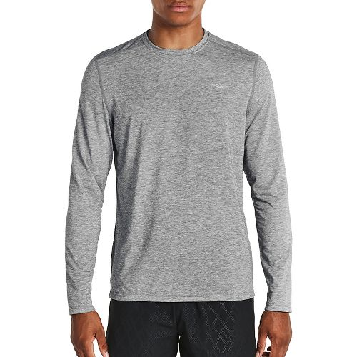 Mens Saucony Freedom Long Sleeve Technical Tops - Grey Heather XL