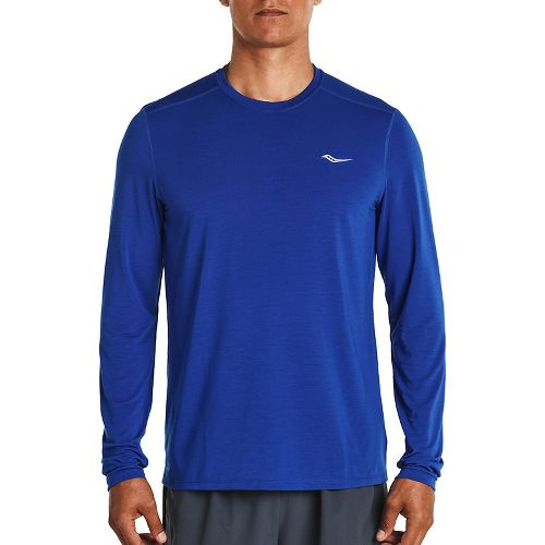 Mens Saucony Freedom Long Sleeve Technical Tops - Varsity Blue M