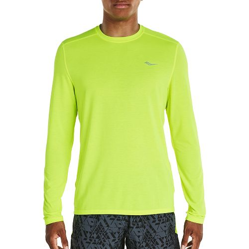 Mens Saucony Freedom Long Sleeve Technical Tops - VIZiPRO Citron S