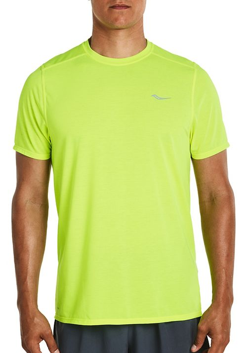 Mens Saucony Freedom Short Sleeve Technical Tops - VIZiPRO Citron L