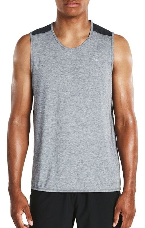 Mens Saucony Freedom Sleeveless & Tank Tops Technical Tops - Grey Heather M