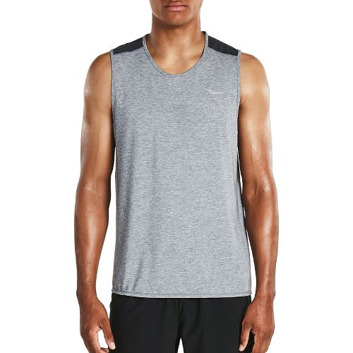 Mens Saucony Freedom Sleeveless & Tank Tops Technical Tops - Grey Heather L
