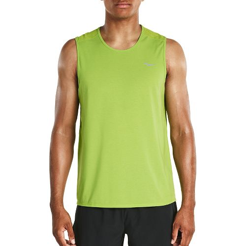 Mens Saucony Freedom Sleeveless & Tank Tops Technical Tops - Chartreuse M