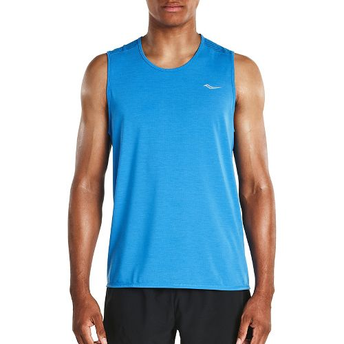 Mens Saucony Freedom Sleeveless & Tank Tops Technical Tops - Brilliant Blue M