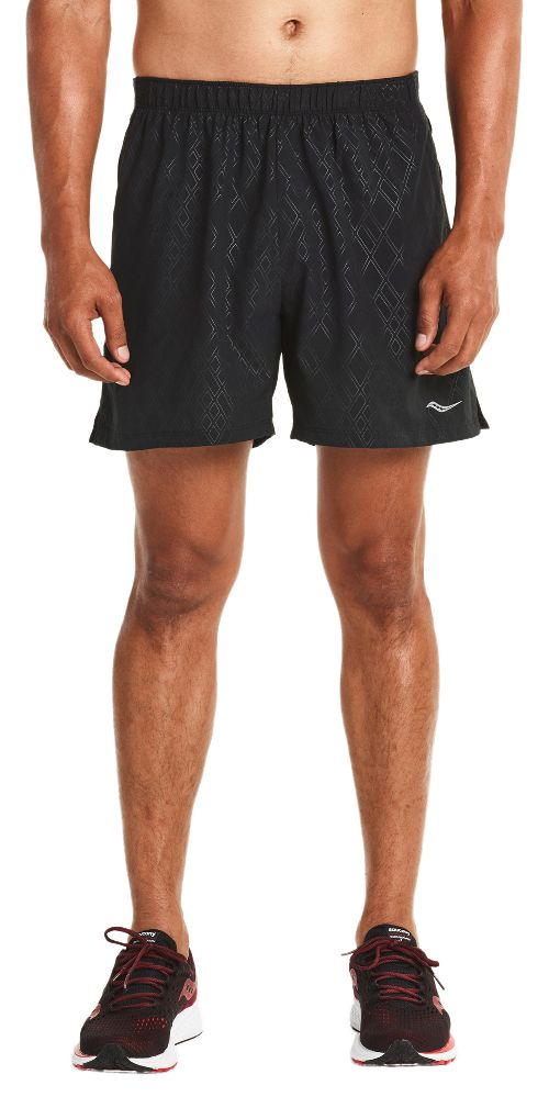 Mens Saucony Throttle Lined Shorts - Black Emboss L