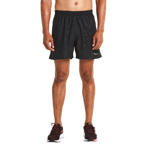 Mens Saucony Throttle Lined Shorts - Black Emboss S
