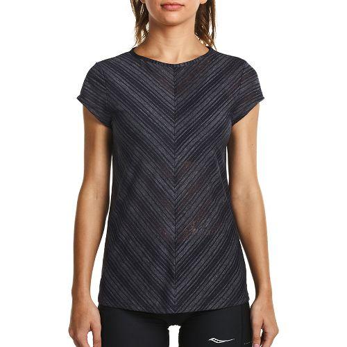 Womens Saucony Breeze Short Sleeve Sleeveless & Tank Tops Technical Tops - Carbon XL