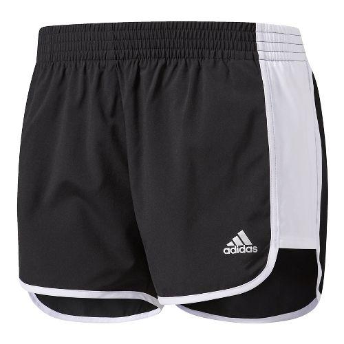 Womens Adidas 100M Dash Woven Lined Shorts - Black/White L
