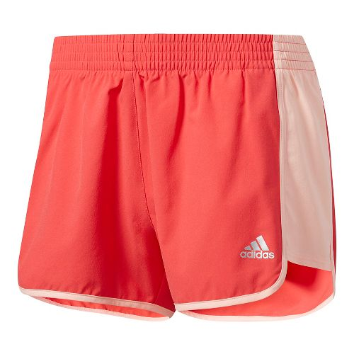 Womens Adidas 100M Dash Woven Lined Shorts - Pink/Coral/Silver M