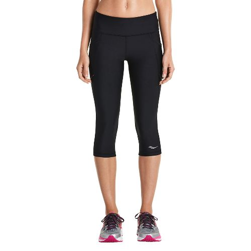 Womens Saucony Bullet Capris Tights - Black XL