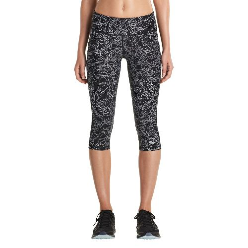 Womens Saucony Bullet Capris Tights - Black Print L