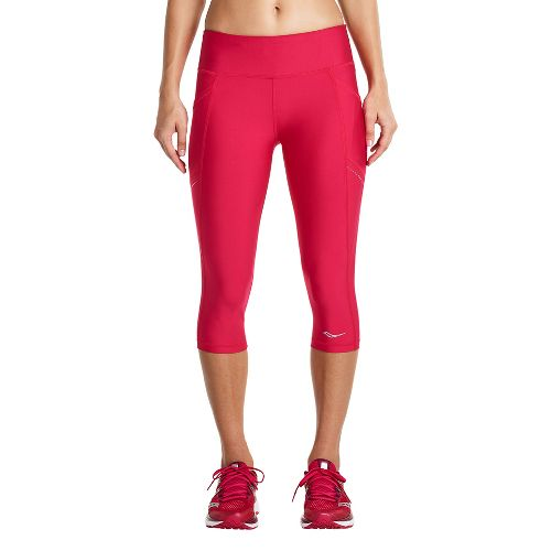 Womens Saucony Bullet Capris Tights - Raspberry L