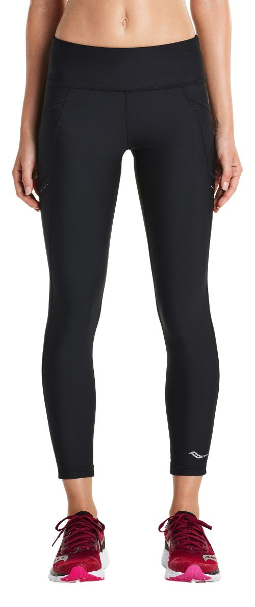 Womens Saucony Bullet Crop Tights - Black L