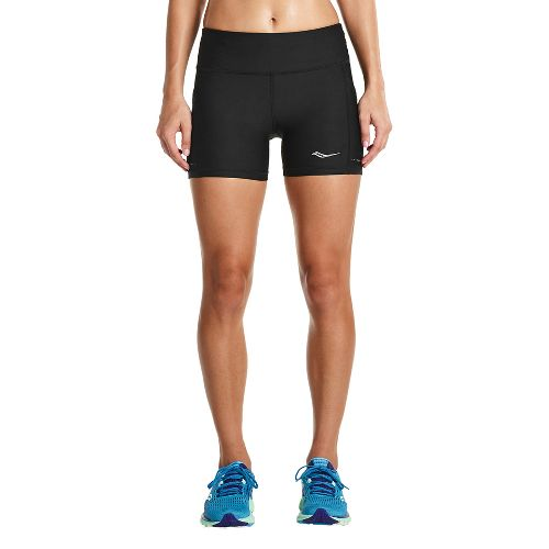 Womens Saucony Bullet Tight Unlined Shorts - Black S