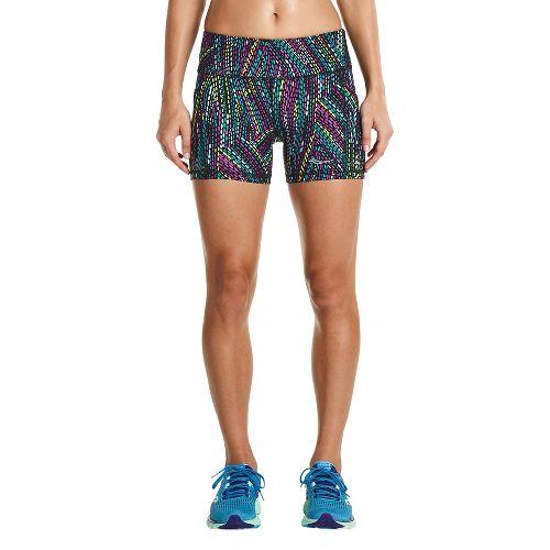 Womens Saucony Bullet Tight Unlined Shorts - Black Multi L