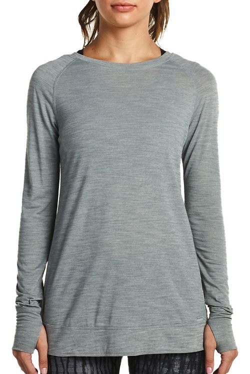 Womens Saucony Carefree Long Sleeve Technical Tops - Heather Grey L