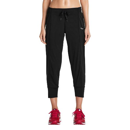 Womens Saucony City Capris Pants - Black L