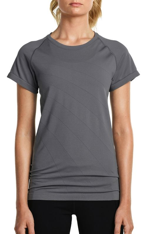 Womens Saucony Dash Seamless Short Sleeve Technical Tops - Dark Grey Heather L