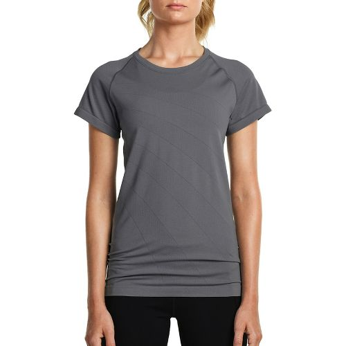 Womens Saucony Dash Seamless Short Sleeve Technical Tops - Dark Grey Heather M