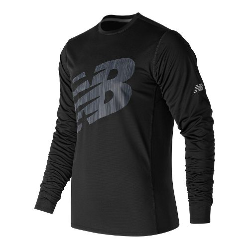 Mens New Balance Accelerate Graphic Top Long Sleeve Technical Tops - Black XL