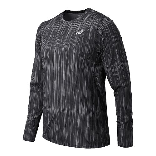 Mens New Balance Accelerate Graphic Top Long Sleeve Technical Tops - Typhoon Print M