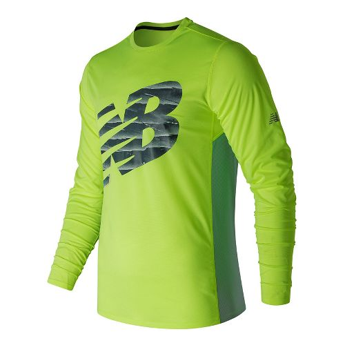 Mens New Balance Accelerate Graphic Top Long Sleeve Technical Tops - Hi-Lite M