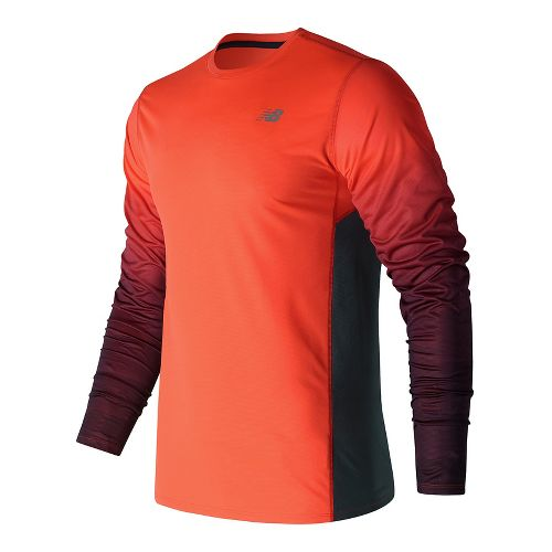 Mens New Balance Accelerate Graphic Top Long Sleeve Technical Tops - Alpha Orange XL