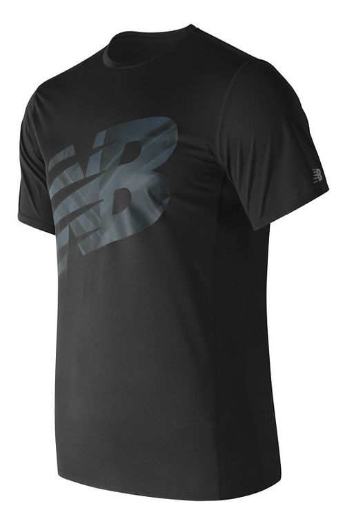 Mens New Balance Accelerate Graphic Top Short Sleeve Technical Tops - Black Print XL
