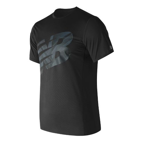 Mens New Balance Accelerate Graphic Top Short Sleeve Technical Tops - Black Print S