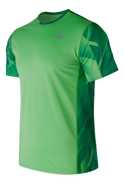Mens New Balance Accelerate Graphic Top Short Sleeve Technical Tops - Cactus Print L