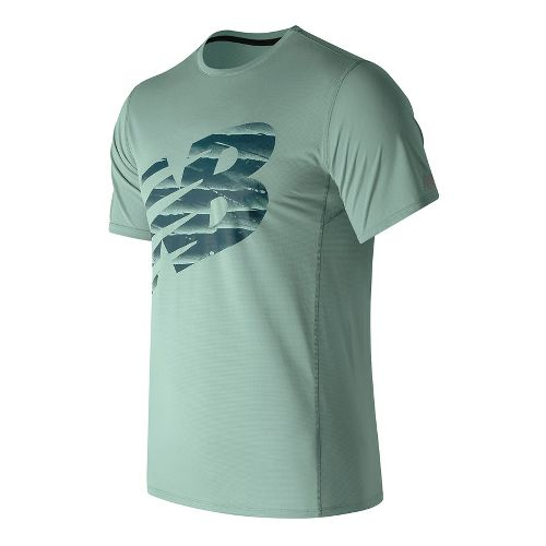 Mens New Balance Accelerate Graphic Top Short Sleeve Technical Tops - Storm Blue L