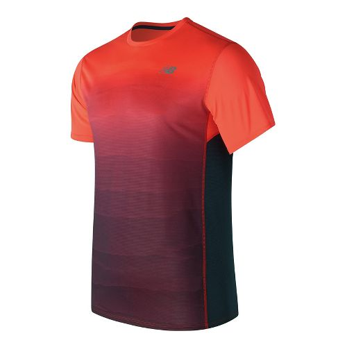 Mens New Balance Accelerate Graphic Top Short Sleeve Technical Tops - Alpha Orange Print S ...