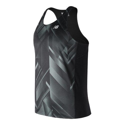 Mens New Balance Accelerate Graphic Singlet Sleeveless & Tank Technical Tops - Black Print M