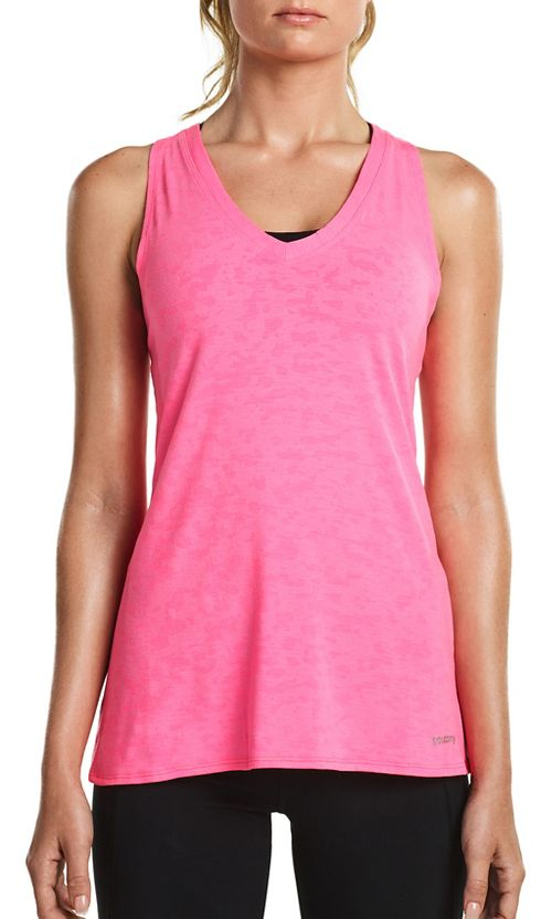 Womens Saucony Daybreak Sleeveless & Tank Tops Technical Tops - VIZiPRO Pink L