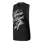 Womens Adidas Three Stripe Life Script Muscle Sleeveless & Tank Tops Technical Tops