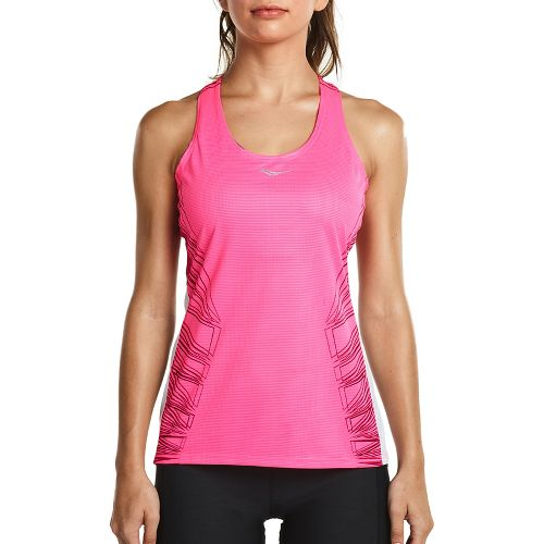 Womens Saucony Endorphin Singlet Sleeveless & Tank Tops Technical Tops - VIZiPRO Pink XS