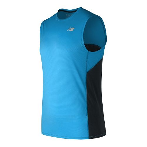 Mens New Balance Accelerate Sleeveless & Tank Technical Tops - Electric Blue M