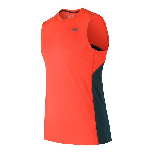 Mens New Balance Accelerate Sleeveless & Tank Technical Tops - Alpha Orange M