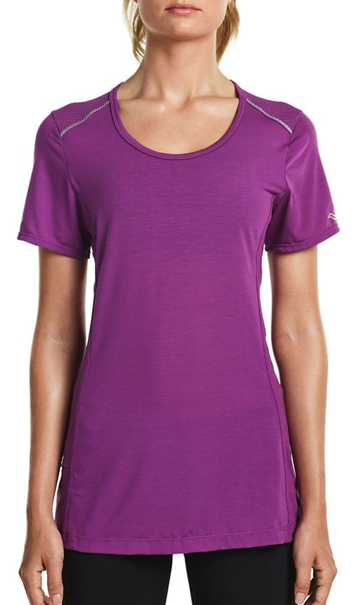 Womens Saucony Freedom Short Sleeve Technical Tops - Dahlia S